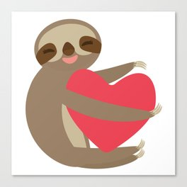 Funny sloth with a red heart Canvas Print
