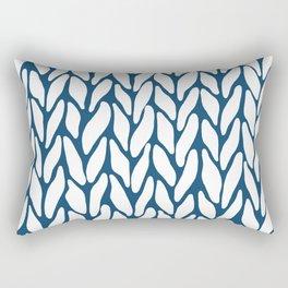 Hand Knitted Navy Rectangular Pillow