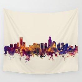 Charlotte North Carolina Skyline Wall Tapestry