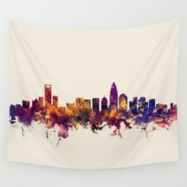 Charlotte North Carolina Skyline Wall Tapestry