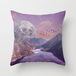Moon Rise Over the Mountains Throw Pillow