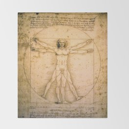 Vitruvian Man by Leonardo da Vinci Throw Blanket