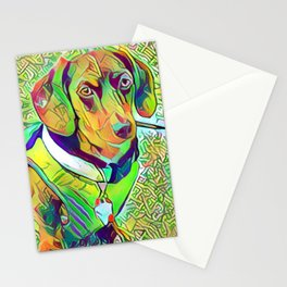 Great Green Dachshund Stationery Cards