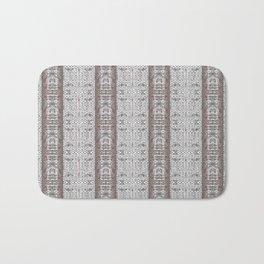 Vintage Grey White Mosaic Striped Pattern Bath Mat