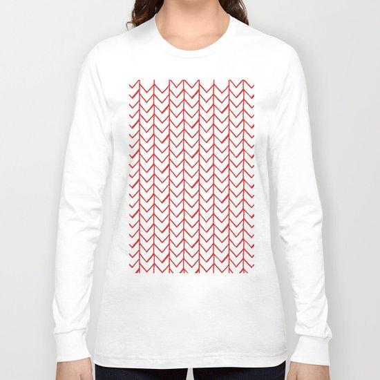 Herringbone Red Long Sleeve T-shirt