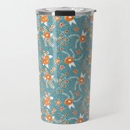 Holiday Floral Blue Orange  #holiday #Christmas Travel Mug