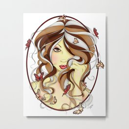 Serenity Fantasy Fairy Girl Portrait Metal Print