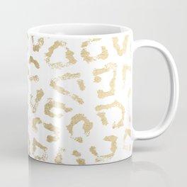 Modern white chic faux gold foil leopard print Coffee Mug