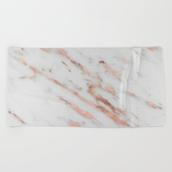 Marble - Rose Gold Marble with White Gold Foil Pattern Beach Towel