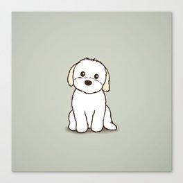Shih Tzu and Maltese Mix Puppy Illustration Canvas Print