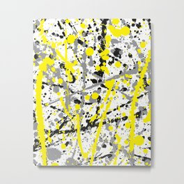 Yellow Grey and Black Ink Splatter on White Metal Print