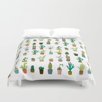 coachella Duvet Covers featuring Cactus by stylishbunny