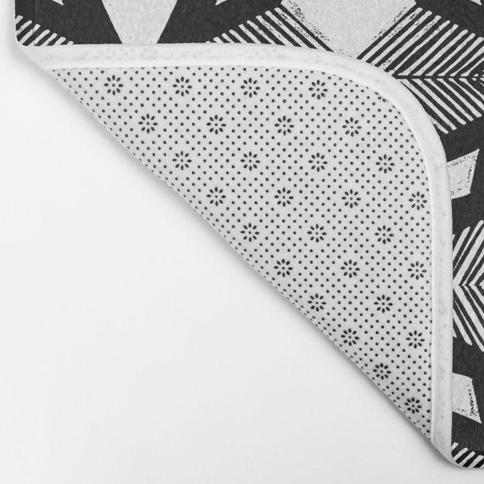 Linocut printmaking pattern black and white scandinavian scandi hipster cute geometric art Bath Mat
