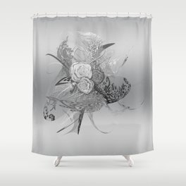50 Shades of lace Silver Silver Shower Curtain