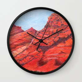 Red Clay Mountain By Catherine Coyle Wall Clock