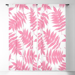 Modern girly pink botanical tropical leaves Blackout Curtain