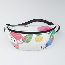 Colorful tropical summer flowers & pink flamingos Fanny Pack