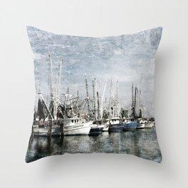Shrimp Boats at the Harbor Throw Pillow