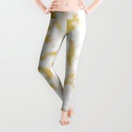 Glitzy Gold Veins on Creamy, Marshmallow Marble Leggings