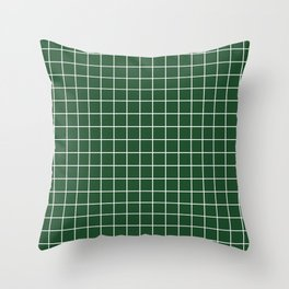 Cal Poly Pomona green - green color - White Lines Grid Pattern Throw Pillow