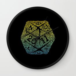 d20 dice pattern - yellow and blue gradient over black - icosahedron Wall Clock