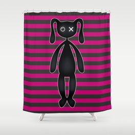 Goth Pink and Black Bunny Shower Curtain