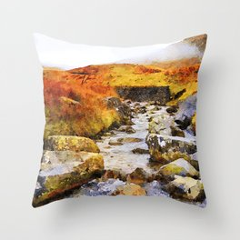 Brook at Honister Pass, Buttermere, Lake District, England. Watercolour Painting. Throw Pillow