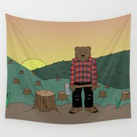 chuck Wall Tapestries featuring How much wood could a wood bear chuck by ALFIE creative design