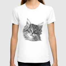 Maine Coon kitten G114 LARGE Womens Fitted Tee White