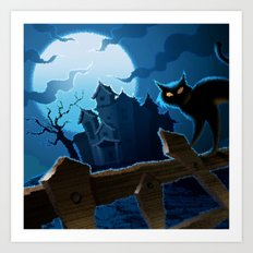 Halloween Cat Nightmare Art Print