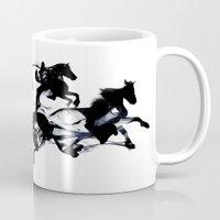 horses Mugs featuring Black horses by Robert Farkas