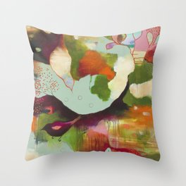 """""""Clouds Gave My Soul An Idea"""" Original Painting by Flora Bowley Throw Pillow"""