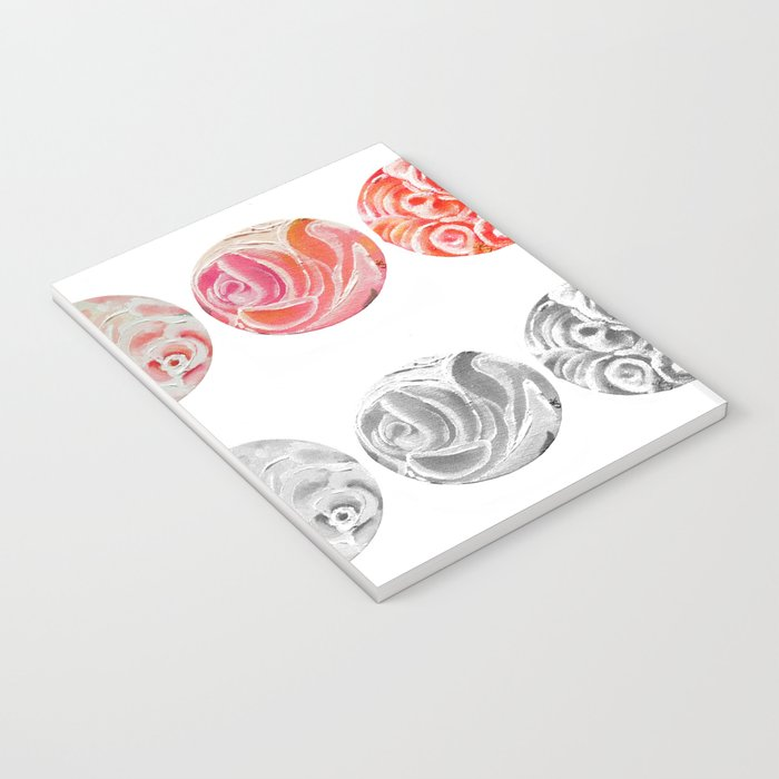 Roses Are Cream, Five Marbles and Circles of Shadow Reflection Notebook