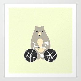 Bear with bike Art Print