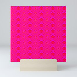 Pattern of intersecting hearts and purple stripes on a pink background. Mini Art Print