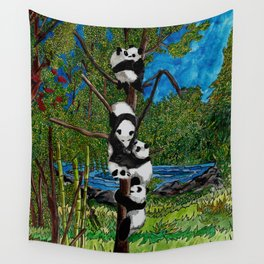 Six Baby Pandas in a Tree Wall Tapestry