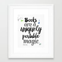 stephen king Framed Art Prints featuring Stephen King quote by Roarr