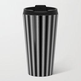 Black and White French Fleur de Lis in Mattress Ticking Stripe Travel Mug