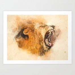 Lion Fierce Roar Splatter Art Print