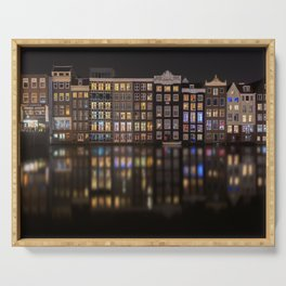 Amsterdam houses with lights reflection at night Serving Tray