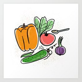 Fresh! Yummy playful healty veggies illustration Art Print