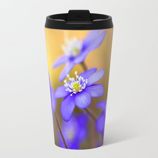 Spring Wildflowers, Beautiful Hepatica in the forest on a sunny and colorful background Metal Travel Mug