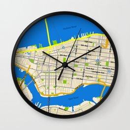 Manhattan Map Design Wall Clock