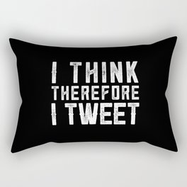 I think therefore I tweet (on black) Rectangular Pillow