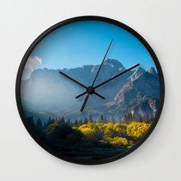 Sun rising on horses at lake Fusine, Italy Wall Clock