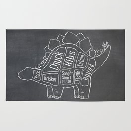 Stegosaurus Dinosaur (A.K.A Armored Lizard) Butcher Meat Diagram Rug