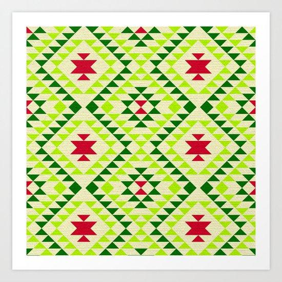 Tribal geometric pattern - green Art Print