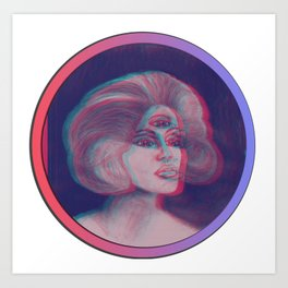 Anna Glyph: Three-Eyed Lady Art Print