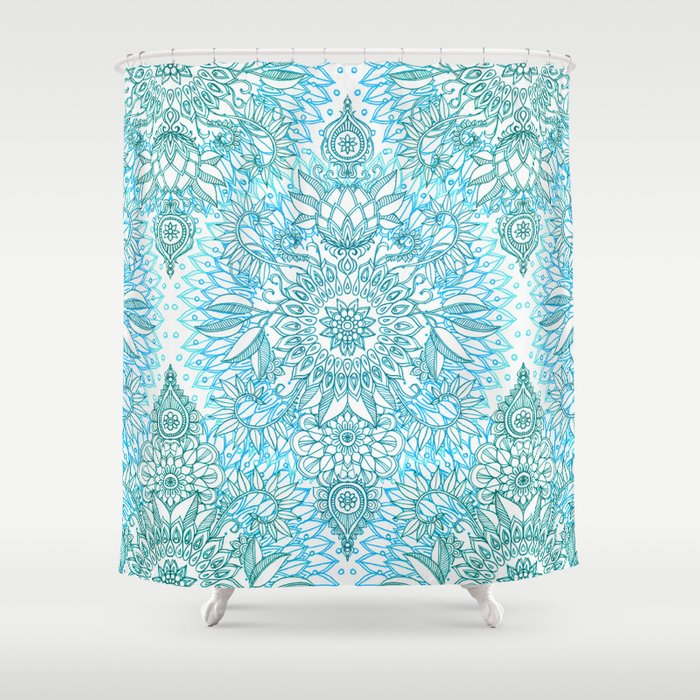 Turquoise Blue Teal White Protea Doodle Pattern Shower Curtain By Micklyn