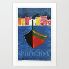 Procida Napels Italy retro vintage travel ad Art Print
